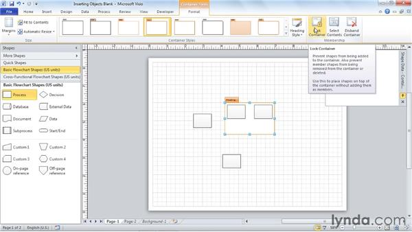 Inserting the new Visio 2010 diagram parts including containers and callouts: Visio 2010 Essential Training