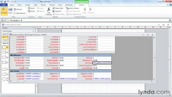 Inserting text-related objects including text boxes, screen tips, text fields, and symbols: Visio 2010 Essential Training