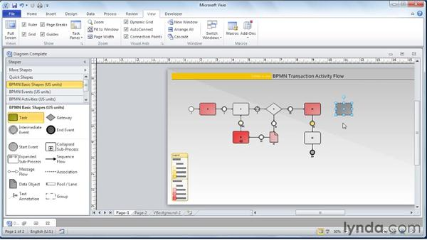 Showing/hiding rulers, grids, page breaks, and guides: Visio 2010 Essential Training
