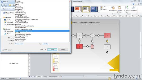 Saving diagrams as JPGs and GIFs: Visio 2010 Essential Training