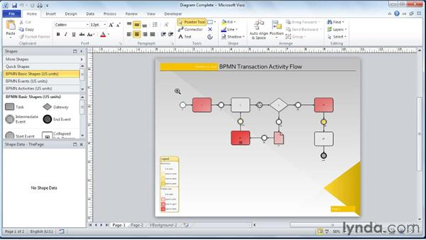 Zooming in/out on a diagram: Visio 2010 Essential Training