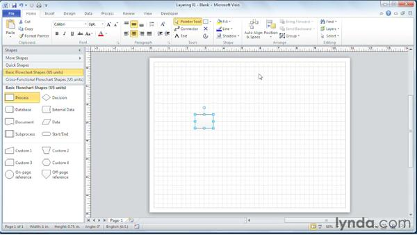 Understanding how adding SmartShapes can create layers in a diagram: Visio 2010 Essential Training