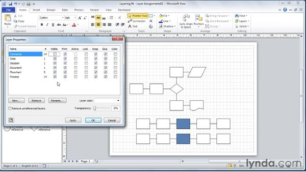 Assigning/unassigning SmartShapes to/from layers: Visio 2010 Essential Training