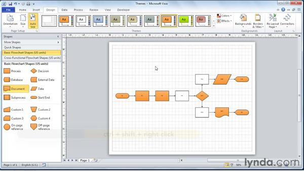 Removing a theme from a SmartShape: Visio 2010 Essential Training