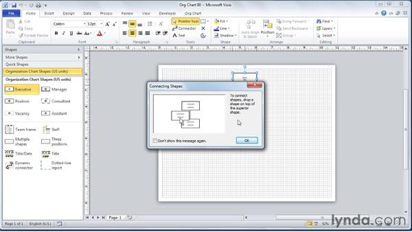 Adding the top-level executive SmartShape to the diagram: Visio 2010 Essential Training