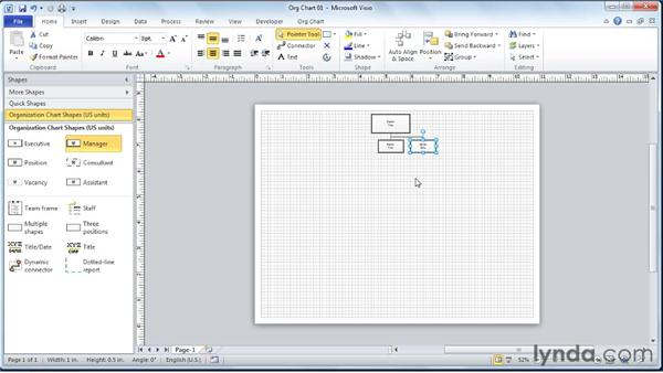 Adding manager sub-shapes to the diagram: Visio 2010 Essential Training