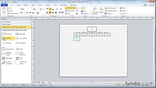 Adding position sub-shapes to the diagram: Visio 2010 Essential Training