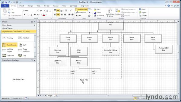 Adding team frames to the diagram: Visio 2010 Essential Training