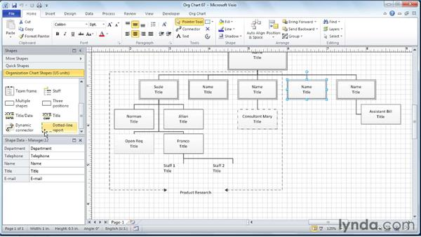 Creating dotted-line report indicators: Visio 2010 Essential Training