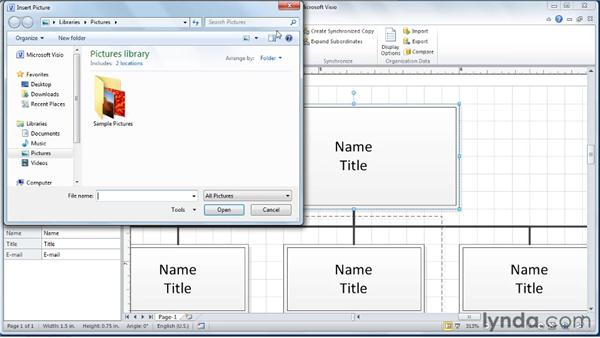 Adding pictures of employees: Visio 2010 Essential Training
