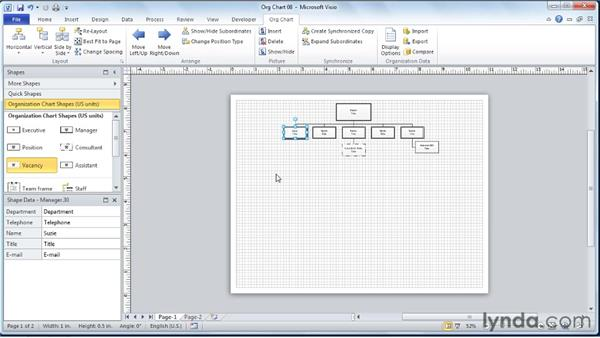 Expanding and collapsing reporting structure views: Visio 2010 Essential Training