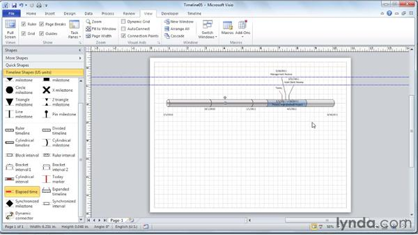 Adding an Elapsed Time indicator to the timeline: Visio 2010 Essential Training