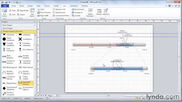 Creating and adjusting the expanded timeline: Visio 2010 Essential Training