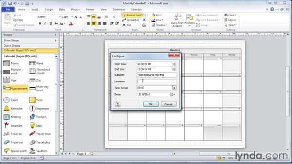 Adding appointments and events: Visio 2010 Essential Training