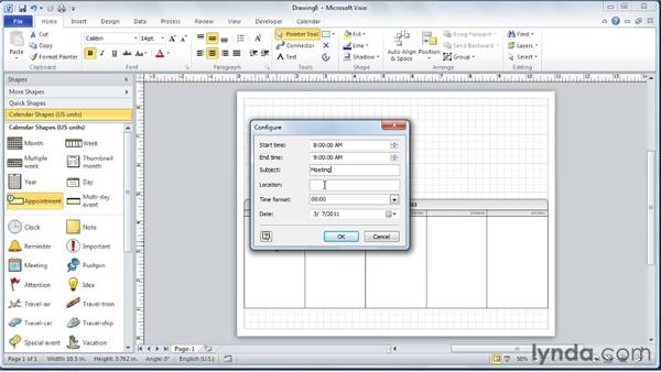 Creating a weekly calendar: Visio 2010 Essential Training