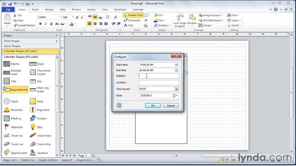 Creating a daily calendar: Visio 2010 Essential Training