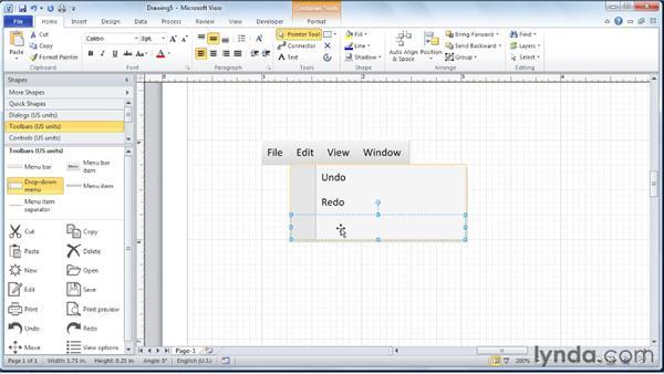 Creating prototype menus, ribbons, and toolbars: Visio 2010 Essential Training