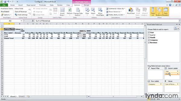 Configuring a PivotTable: Excel 2010: Pivot Tables in Depth