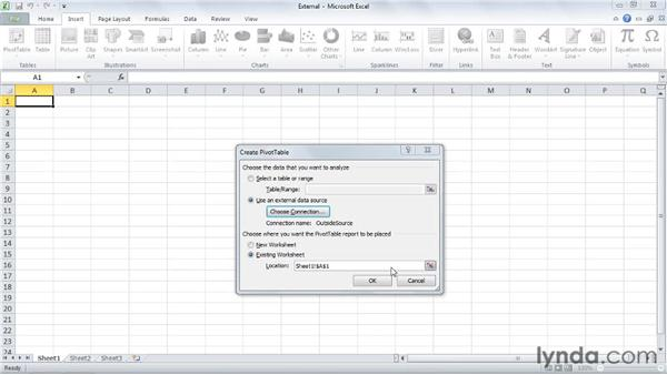 Connecting to an external data source: Excel 2010: Pivot Tables in Depth