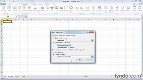 Connecting to an Access database: Excel 2010: Pivot Tables in Depth