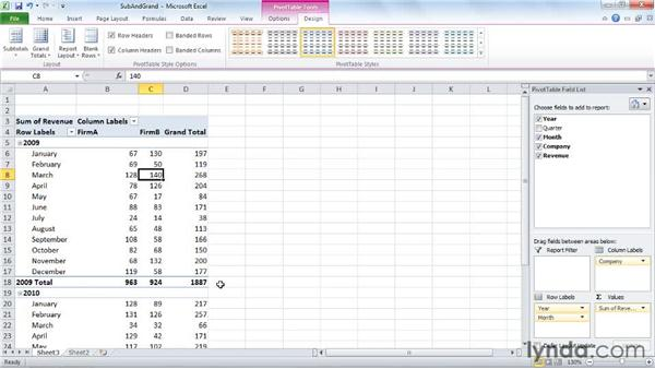 Adding, removing, and positioning subtotals and grand totals: Excel 2010: Pivot Tables in Depth