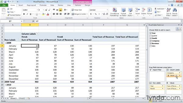 Summarizing more than one data field: Excel 2010: Pivot Tables in Depth