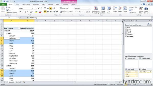 Grouping PivotTable fields: Excel 2010: Pivot Tables in Depth