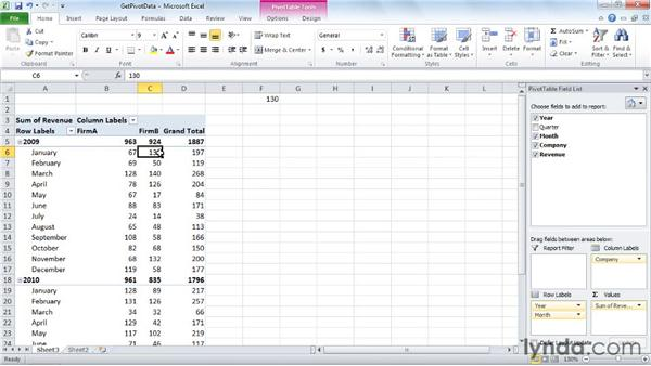 Using PivotTable data in a formula: Excel 2010: Pivot Tables in Depth