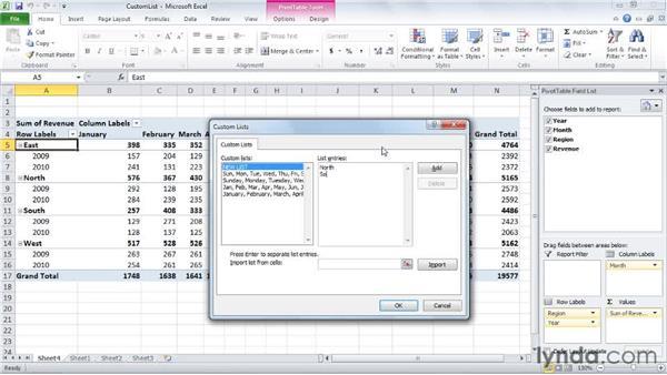 Creating a custom sort order: Excel 2010: Pivot Tables in Depth