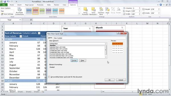 Formatting slicers: Excel 2010: Pivot Tables in Depth