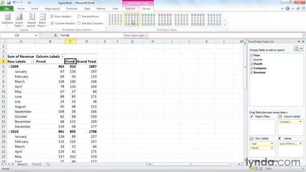 Applying a PivotTable style: Excel 2010: Pivot Tables in Depth