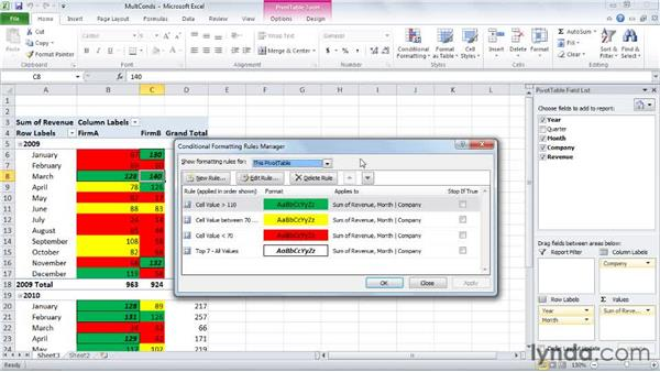 Controlling how multiple rules are applied: Excel 2010: Pivot Tables in Depth
