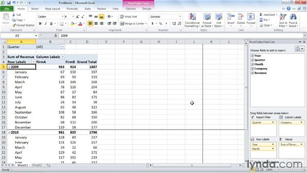 Printing each item on its own page: Excel 2010: Pivot Tables in Depth