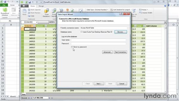 Adding tables to a PowerPivot model: Excel 2010: Pivot Tables in Depth