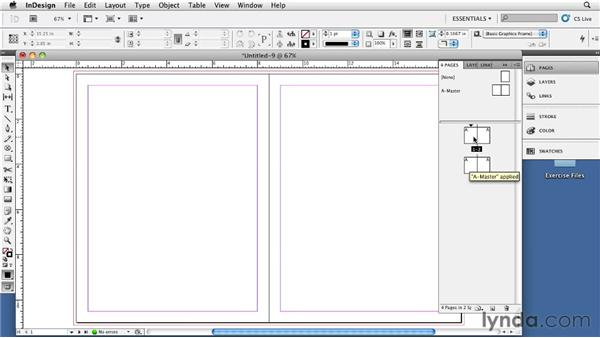 Creating a four-page spread with a left-hand page 1: InDesign CS5: Print Production Guidelines