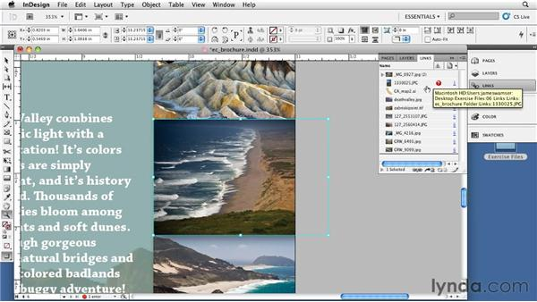Looking at the Links panel: InDesign CS5: Print Production Guidelines
