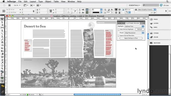 Using the Flattener Preview panel: InDesign CS5: Print Production Guidelines