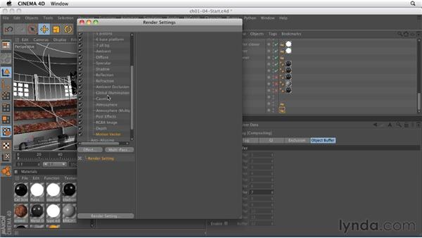 Setting up multi-pass image layers: CINEMA 4D: Rendering Motion Graphics for After Effects