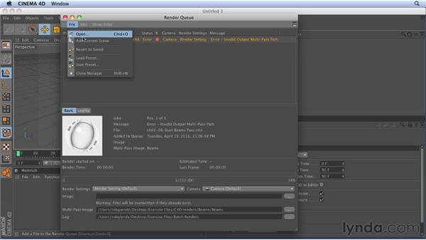 Batch rendering: CINEMA 4D: Rendering Motion Graphics for After Effects