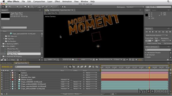 Compositing 3D text: CINEMA 4D: Rendering Motion Graphics for After Effects