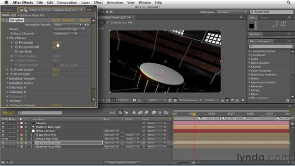 Adding the Star Glow effect to a layer: CINEMA 4D: Rendering Motion Graphics for After Effects