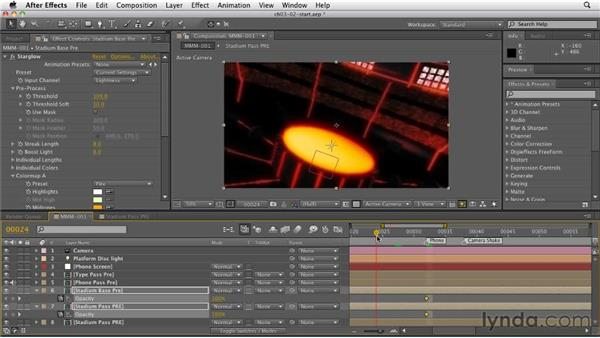 Creating a glow on the stadium background: CINEMA 4D: Rendering Motion Graphics for After Effects