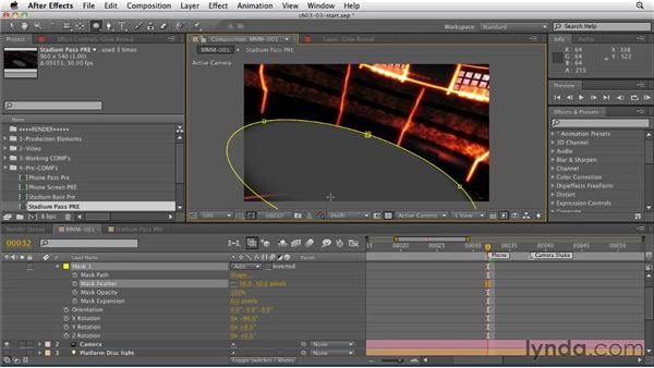 Revealing the background glow using a 3D layer mask: CINEMA 4D: Rendering Motion Graphics for After Effects
