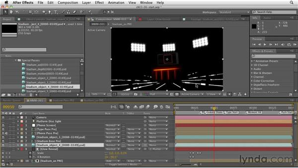Creating a stadium light effect using object buffers: CINEMA 4D: Rendering Motion Graphics for After Effects