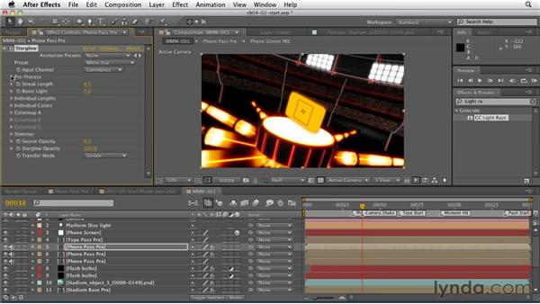 Creating the phone reveal glow: CINEMA 4D: Rendering Motion Graphics for After Effects