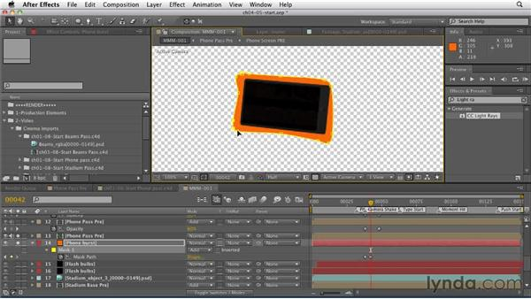 Creating the energy burst: CINEMA 4D: Rendering Motion Graphics for After Effects