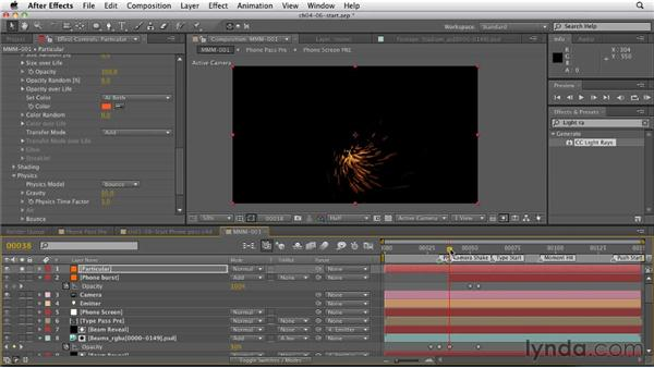 Using Trapcode Particular to add sparks to the phone reveal: CINEMA 4D: Rendering Motion Graphics for After Effects