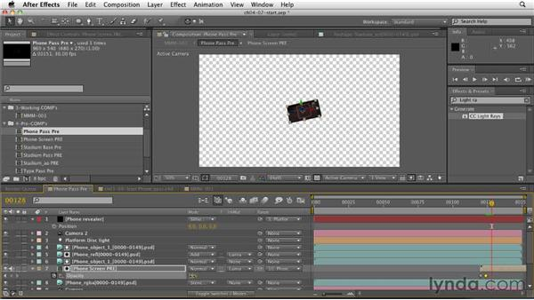 Creating the phone screen video: CINEMA 4D: Rendering Motion Graphics for After Effects