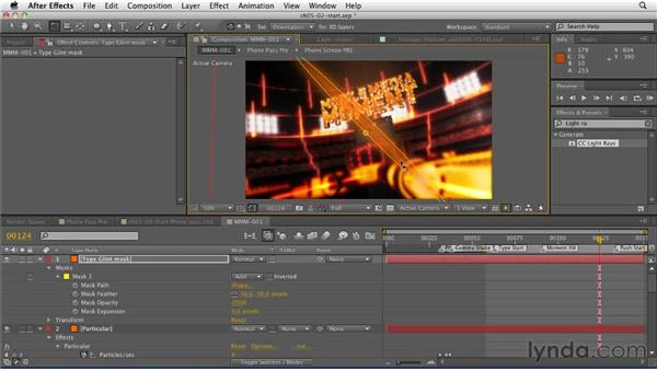 Adding the type glint: CINEMA 4D: Rendering Motion Graphics for After Effects