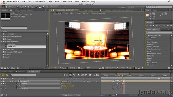 Creating a camera shake effect using precomps: CINEMA 4D: Rendering Motion Graphics for After Effects
